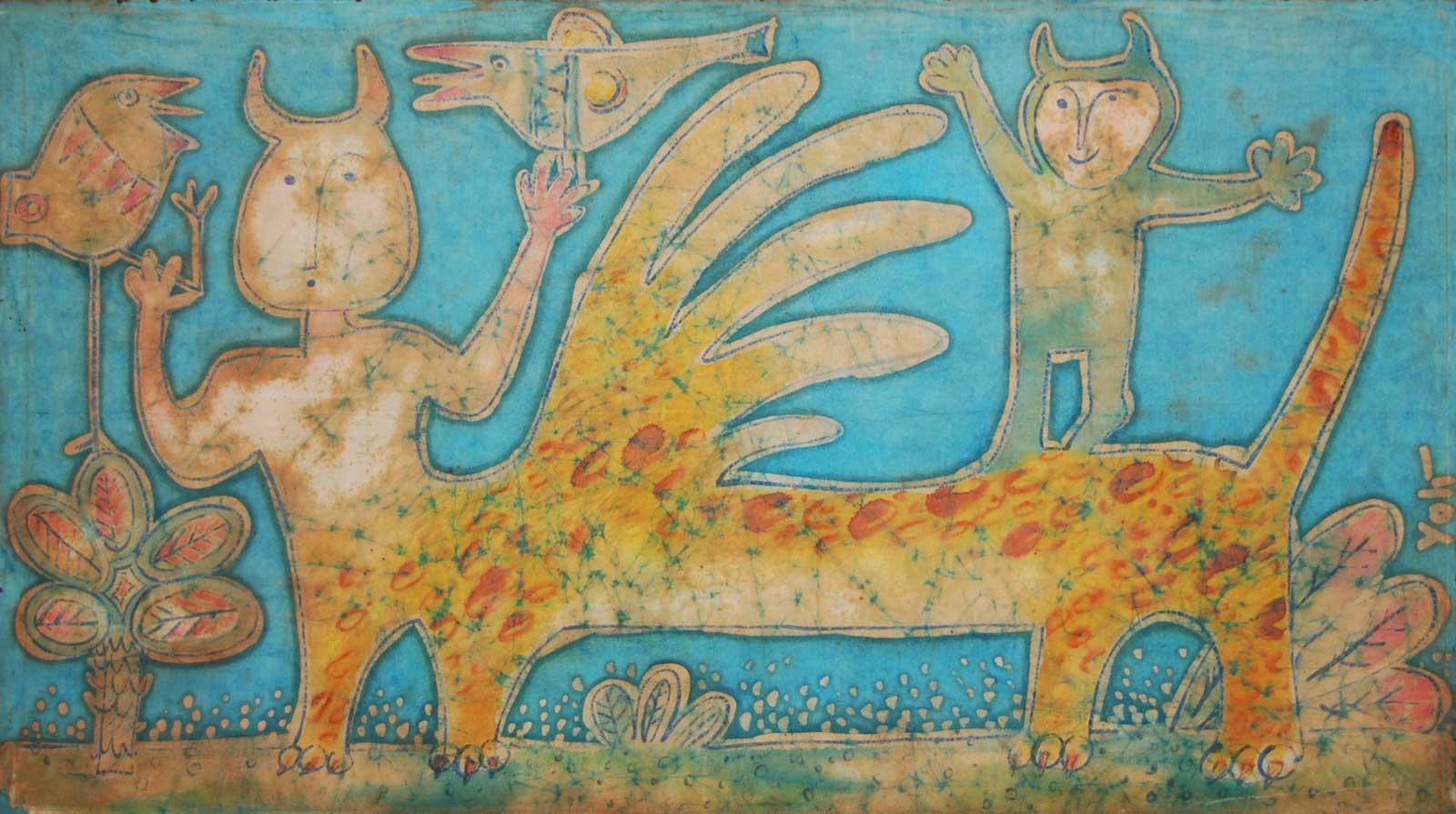 Yolanda Zerboni, Fantasy (2000) - Tecnica mista su stoffa, 149x87cm